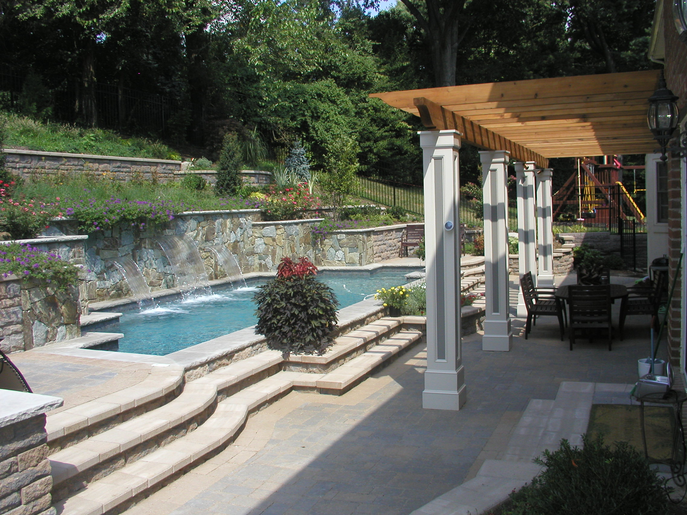 Hillside Landscaping And Pool In Chevy Chase Md Land