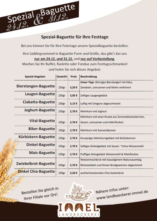 Spezial Baguette Liste