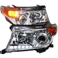 Generic Headlight With Projector Lens 2008 to 2013 Year For Toyota Land Cruiser FJ200 Chrome Housing