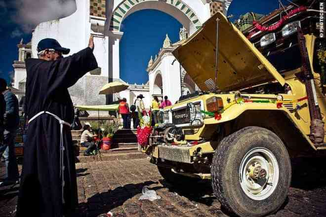 In Copacabana, Bolivia, we had the Land Cruiser blessed by a priest after a 6-month overhaul