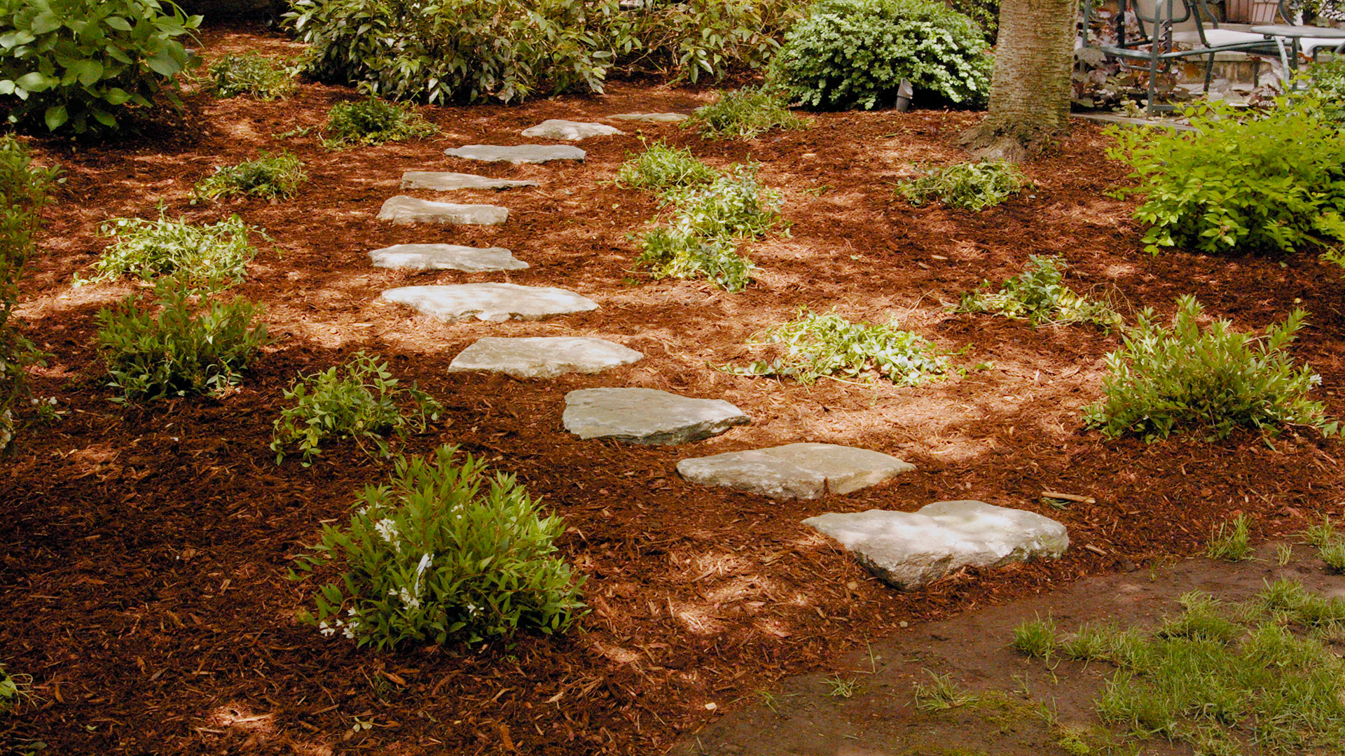 Garden paths land designs unlimited llc for Stone stepping stones for garden paths