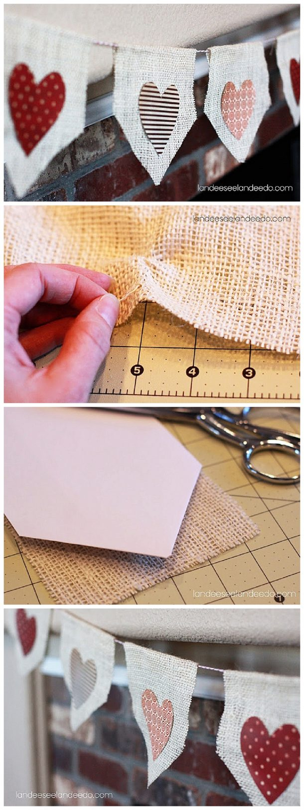 No Sew Valentine Burlap Bunting - EASY DIY TUTORIAL for those of us who like to skip  the sewing part!