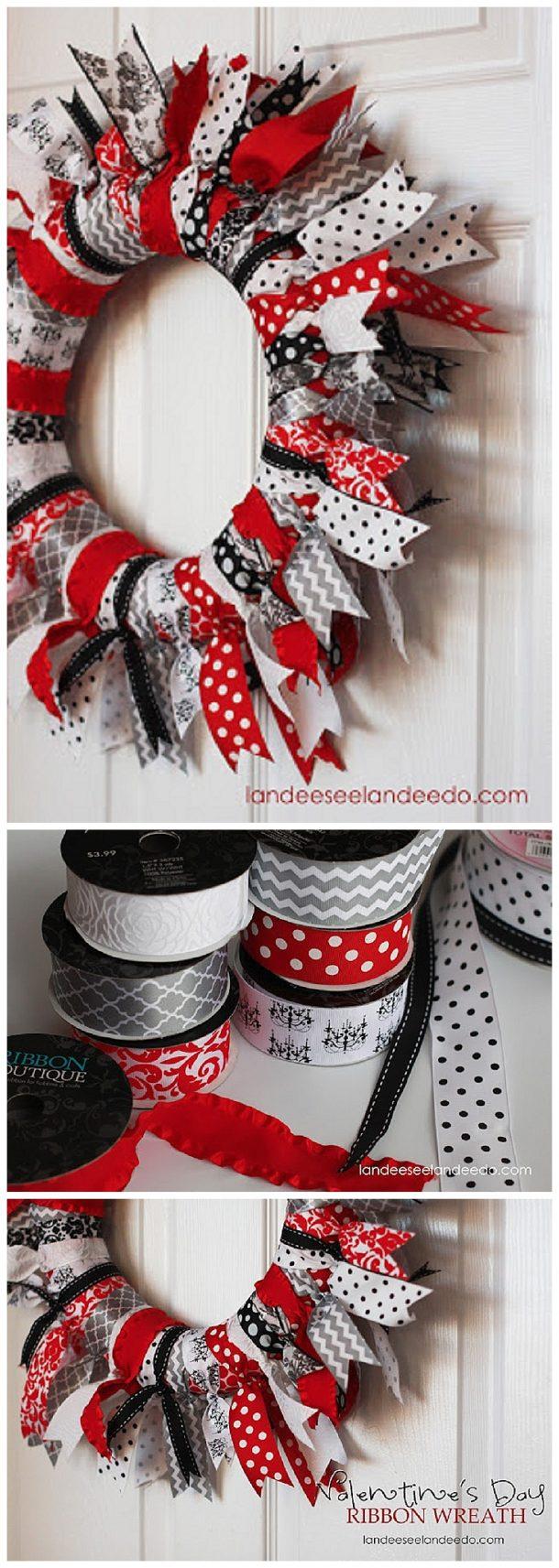 Easy DIY Valentine's Day Ribbon Wreath Decoration Tutorial