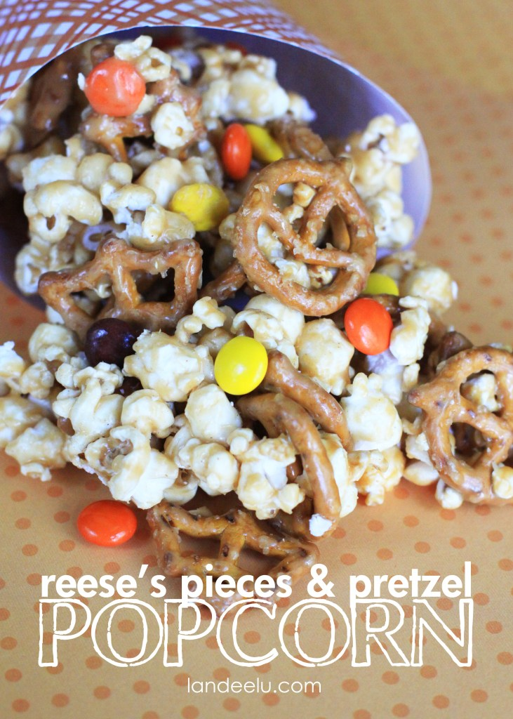 Reese's Pieces & Pretzel Popcorn Treat Recipe | Landeelu
