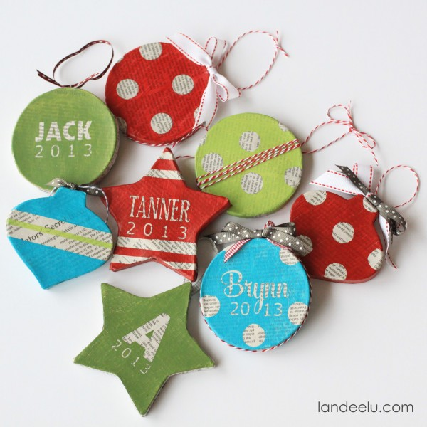 handmade newsprint ornaments embellished