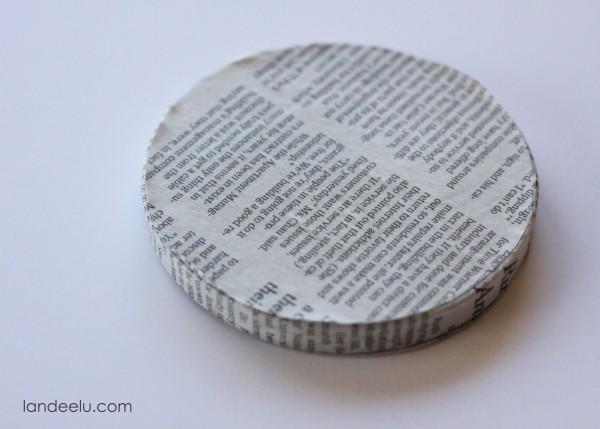 handmade newsprint ornaments mod podge