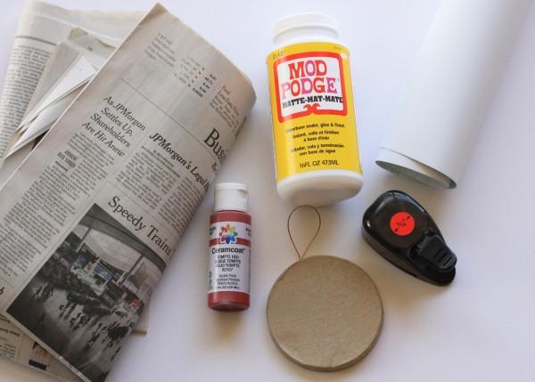 handmade newsprint ornaments supplies