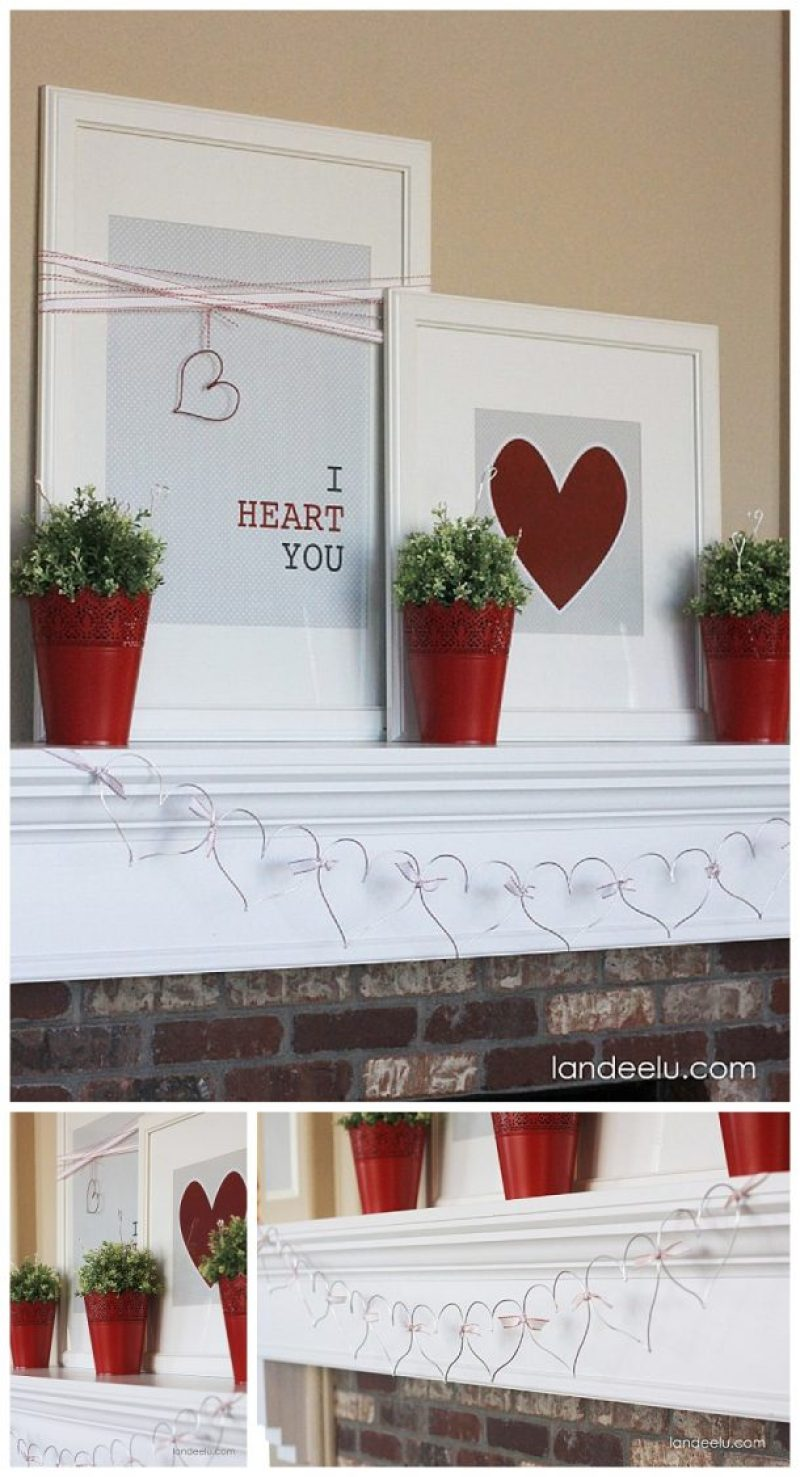 I Heart You! Red, White and Grey with Wire Elements Heart Garland DIY Valentine's Day Mantel - SO pretty and EASY!