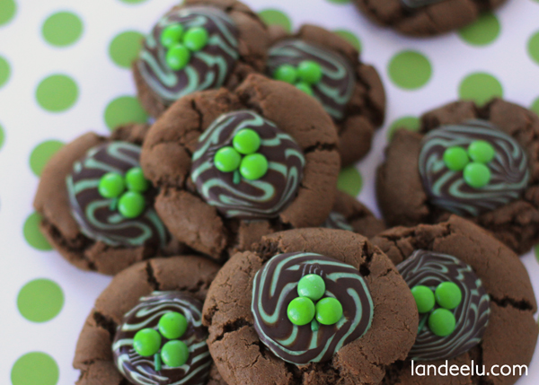 Mint Chocolate Shamrock Cookies with Dove Chocolates