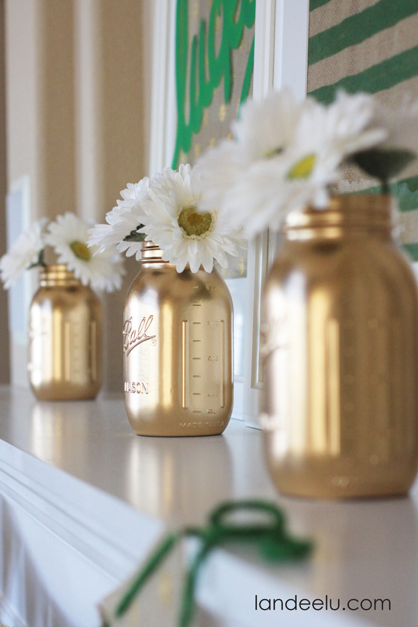 gold mason jars--love