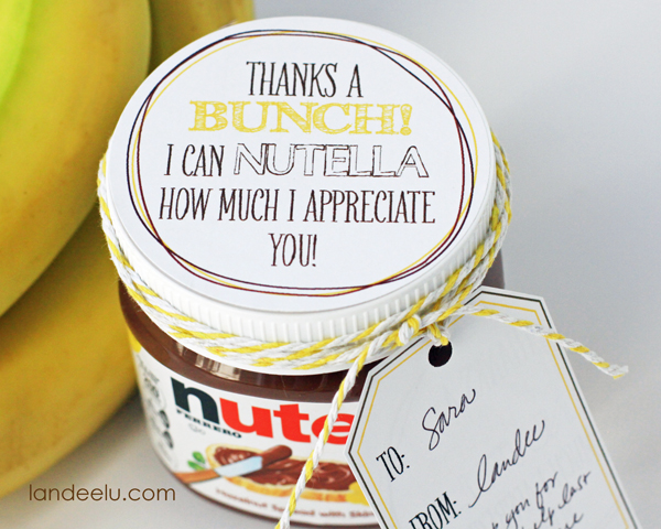 Bananas and Nutella Thank You Gift Idea--cute