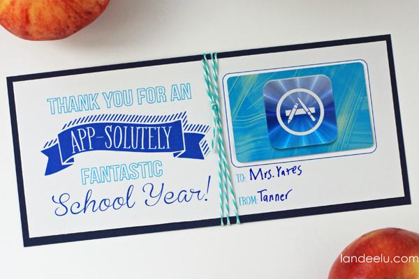 Teacher Appreciation App Store Gift Card Idea from landeelu.com--love this idea!
