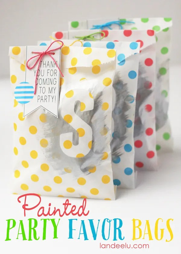 Painted Party Favor Bags Idea