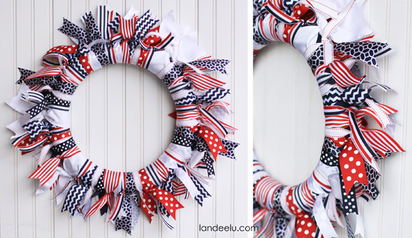 Patriotic Ribbon Wreath... so easy to make and is so festive!