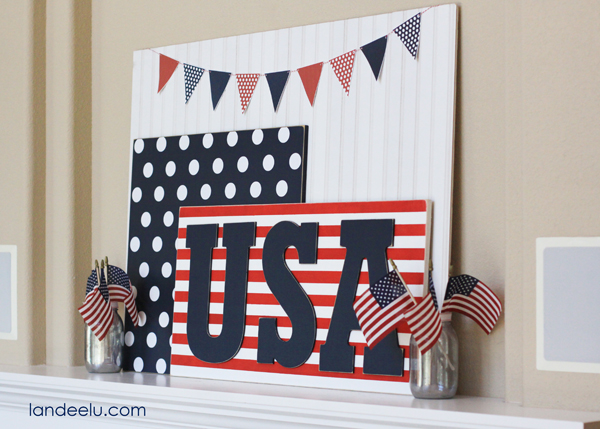 Polka Dot Red White and Blue Mantel Idea from Landeelu