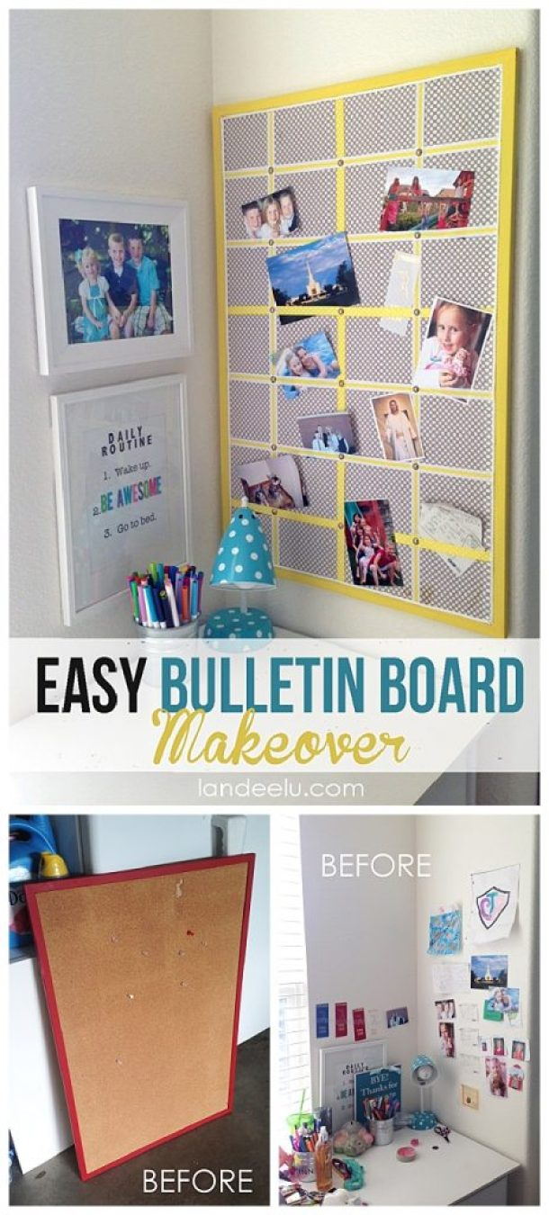 EASY DIY Bulletin Board Makeover - Inexpensive and QUICK do it yourself home decor and organization project.  I LOVE how it turned out!