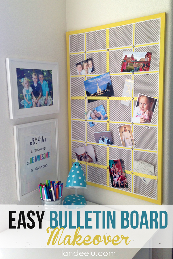 Easy Bulletin Board Makeover from landeelu.com Great upcycling project!