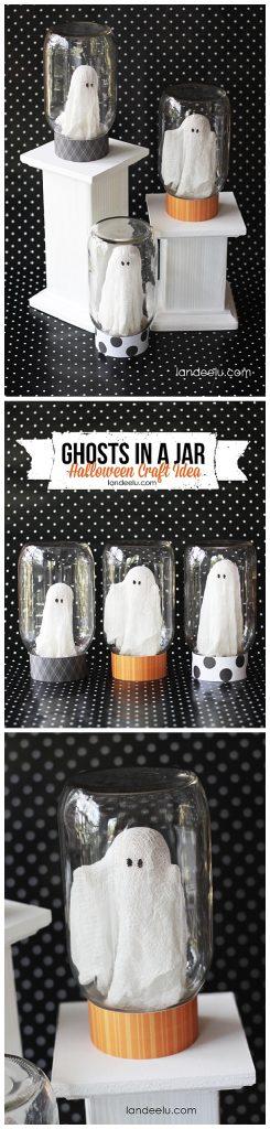 Ghosts in a Jar : Fun Halloween Decoration Craft DIY Tutorial   Landeelu