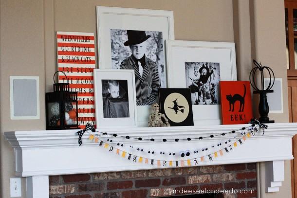 Halloween Mantel Using Photos | landeelu.com