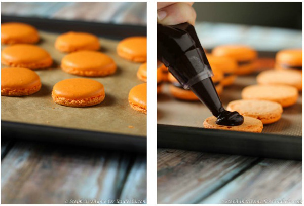 Filling macarons with dark chocolate ganache