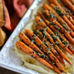 Chimichurri marinated carrots atop a parsnip puree l vegetarian and gluten-free