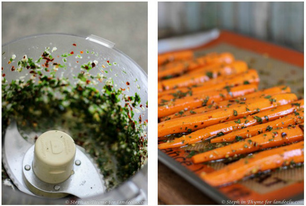 Chimichurri sauce, prepared and used as a marinade for carrots