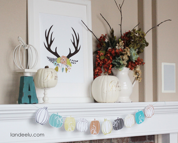 Fresh Fall Mantel Idea | landeelu.com   Love this color scheme for fall!
