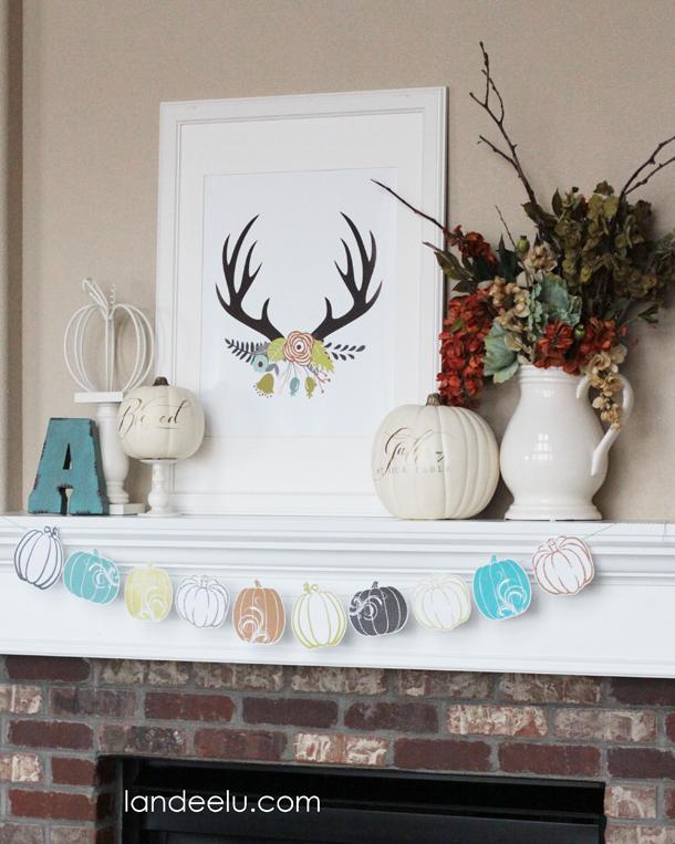 Fresh Fall Mantel Idea   landeelu.com   Love this color scheme for fall!