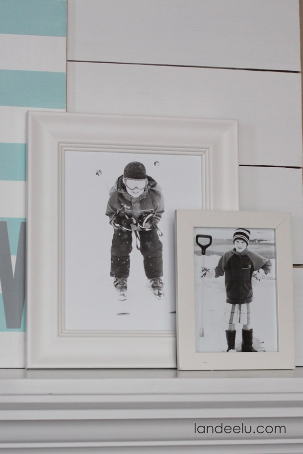 Simple Winter Mantel Decor | landeelu.com Use wintery photos of your kids and family to easily create a simple winter mantel!
