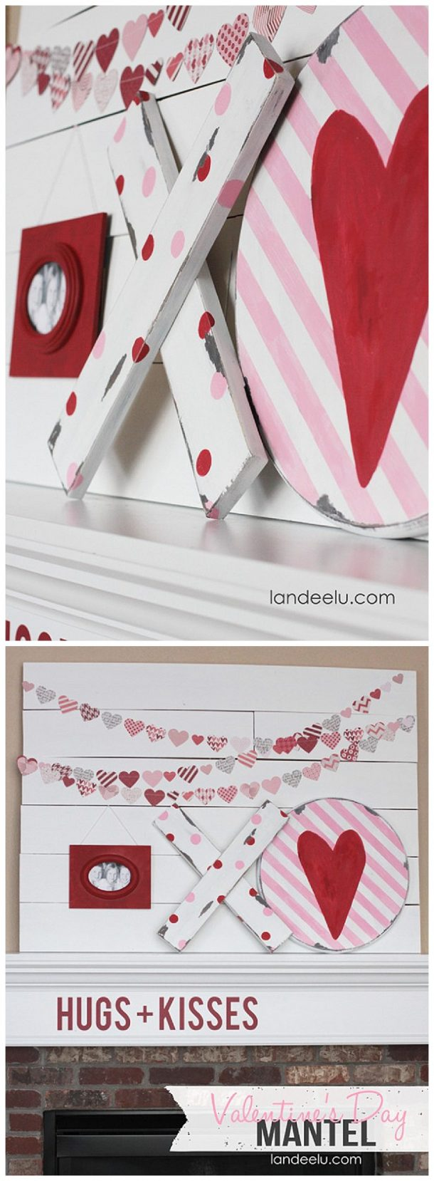 Valentine's Day Mantel: Hugs & Kisses Theme in Red, White and Pink | Love the DIY chippy XOs and heart garland!