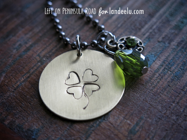 Bit of Luck Hand-Stamped Pendant by Left on Peninsula Road for Landeelu