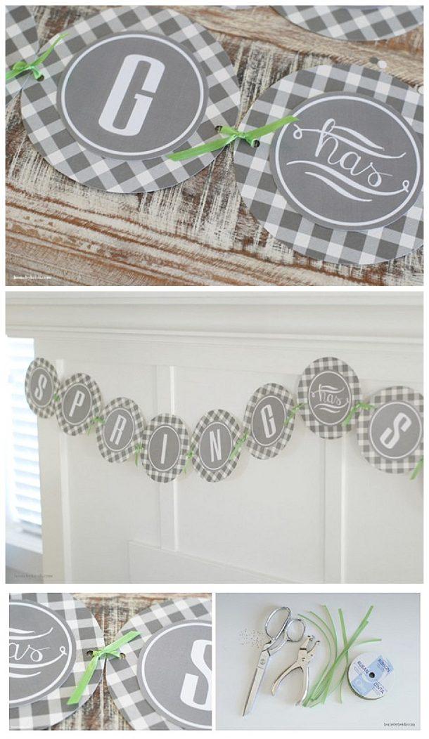 DIY FREE PRINTABLE cute SPRING Banner Decoration