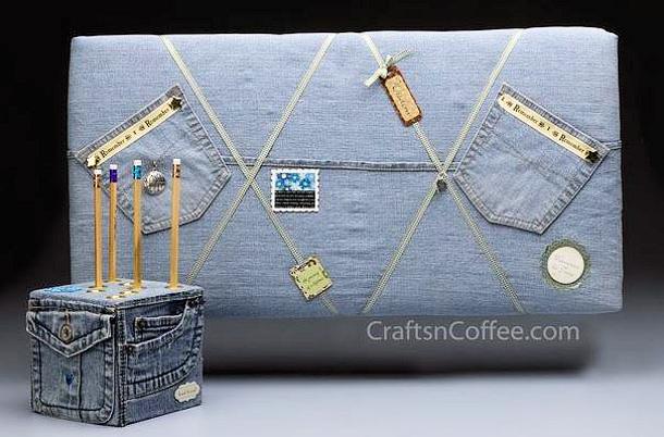 Crafts n Coffee denim bulletin board and pencil cube DIY