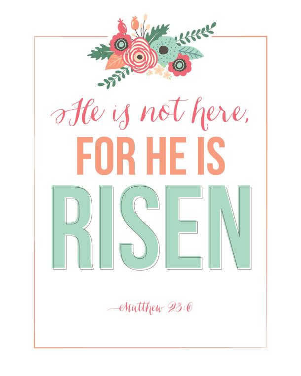 Sunday Encouragement: He Is Risen Printable | landeelu.com Easter Clip Art Free Sayings