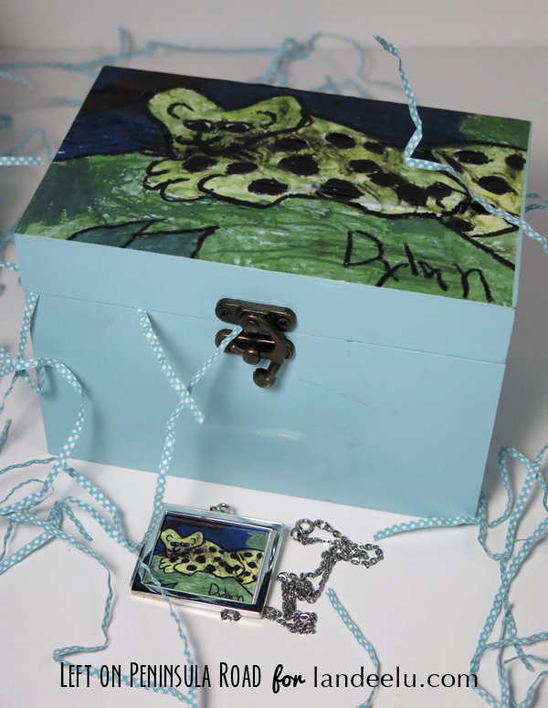 Kids' art embellished keepsake box with leopard drawing