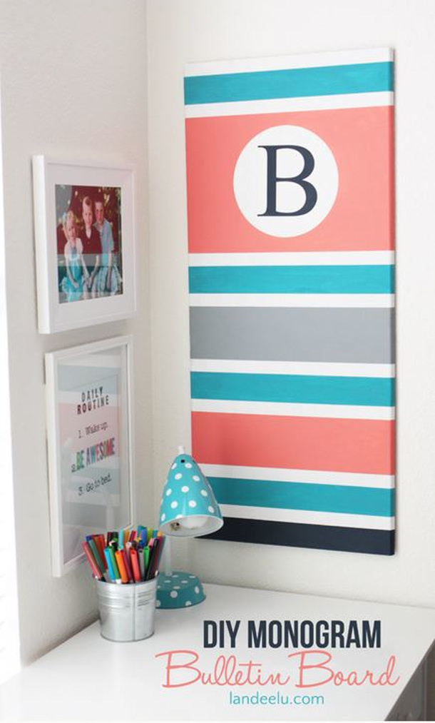 Landee DIY monogram bulletin board