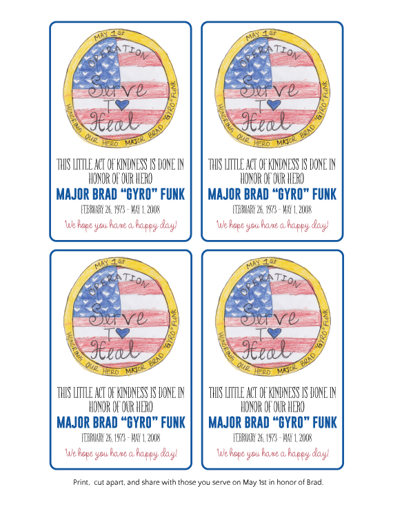 Operation Serve to Heal Printable Notes