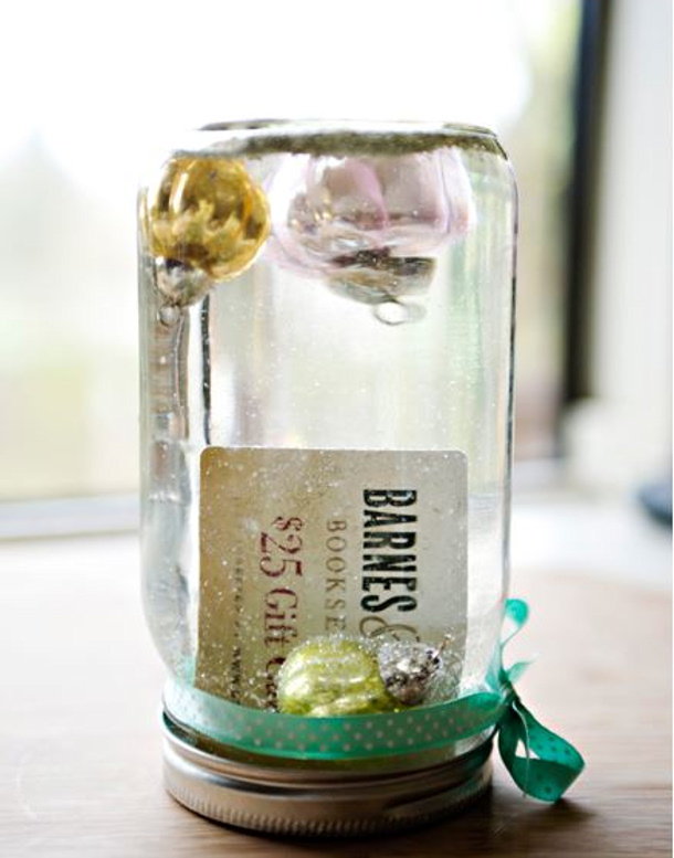 Teacher appreciation snow globe gift card holder