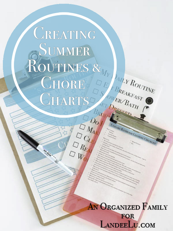 Summer routine and chore chart printable