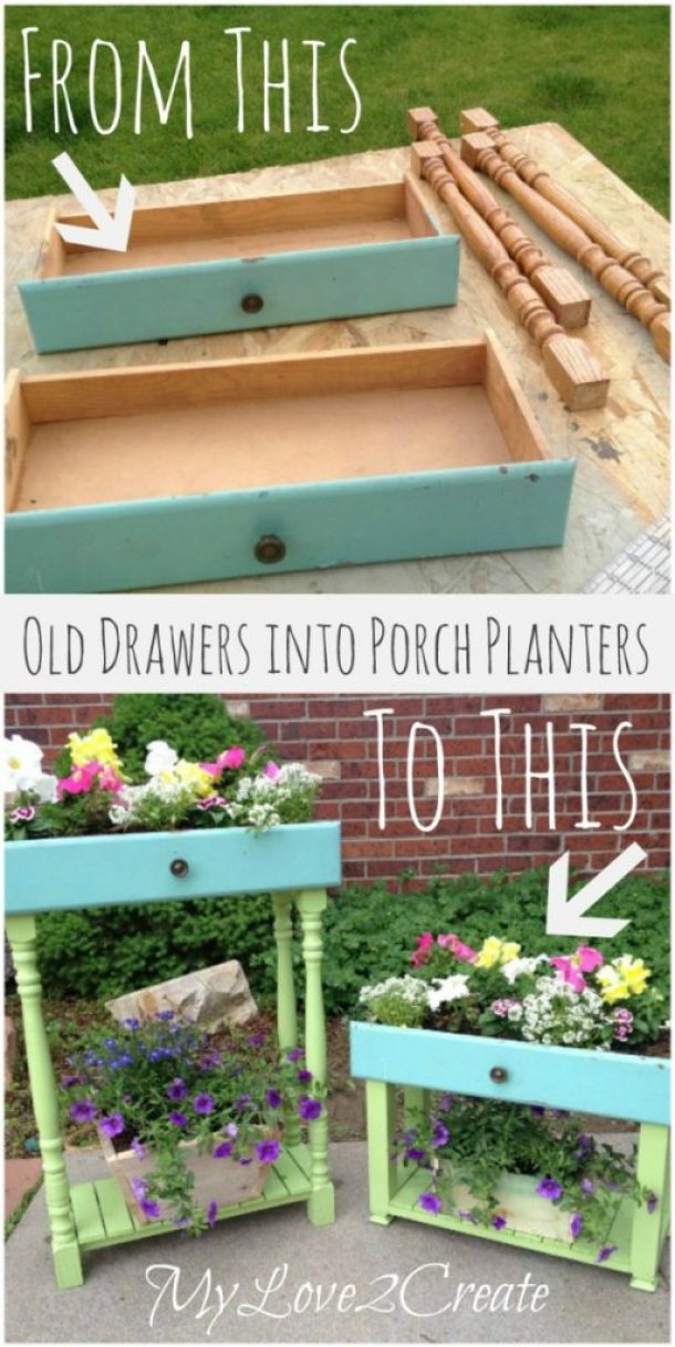 MyLove2Create turn dresser drawers in to planters tutorial roundup for landeelu dot com