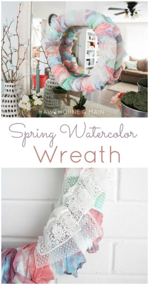 DIY Spring Watercolor Wreath (from cheap coffee filters!) Tutorial | Landeelu