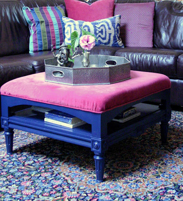 ottoman+in+living+room+design+manifest bright purple and pink DIY makeover
