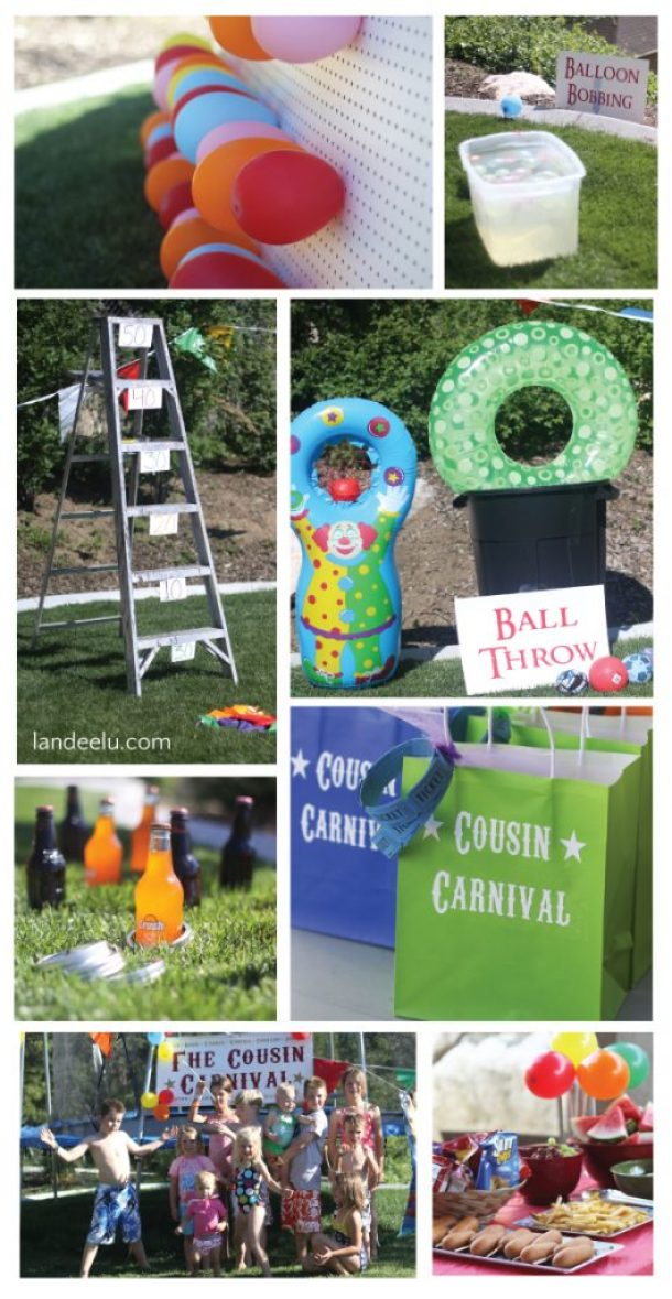 Cousin Carnival Party Idea: So many fun DIY games you can make out of what you have around the house! via Landeelu