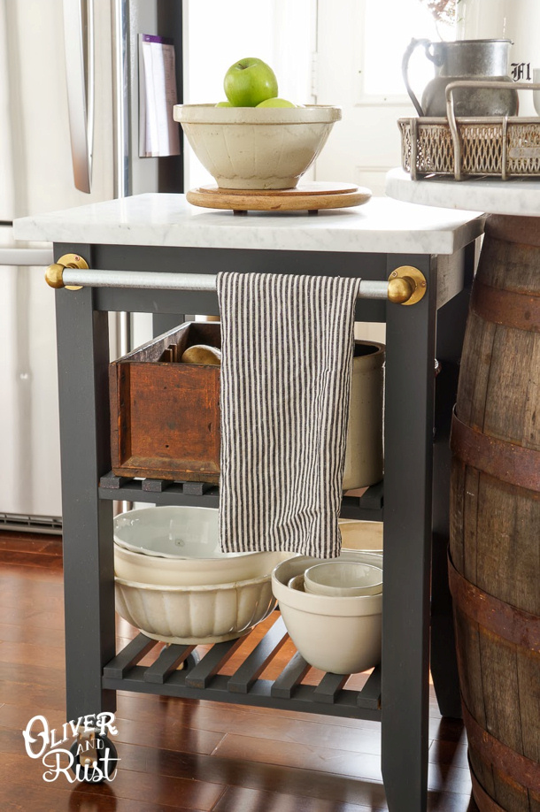 Kitchen Cart IKEA Hack via Oliver and Rust