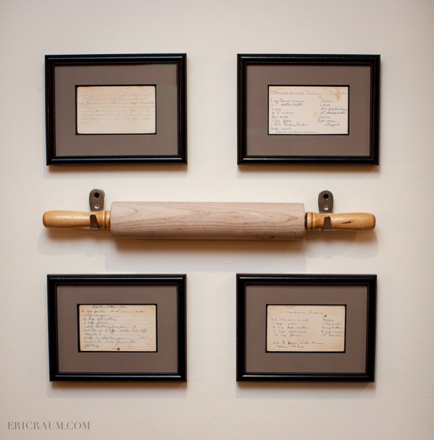 framed recipes and rolling pin via Eric Raum