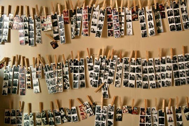 photo booth strips with clothespins by apartmenttherapy