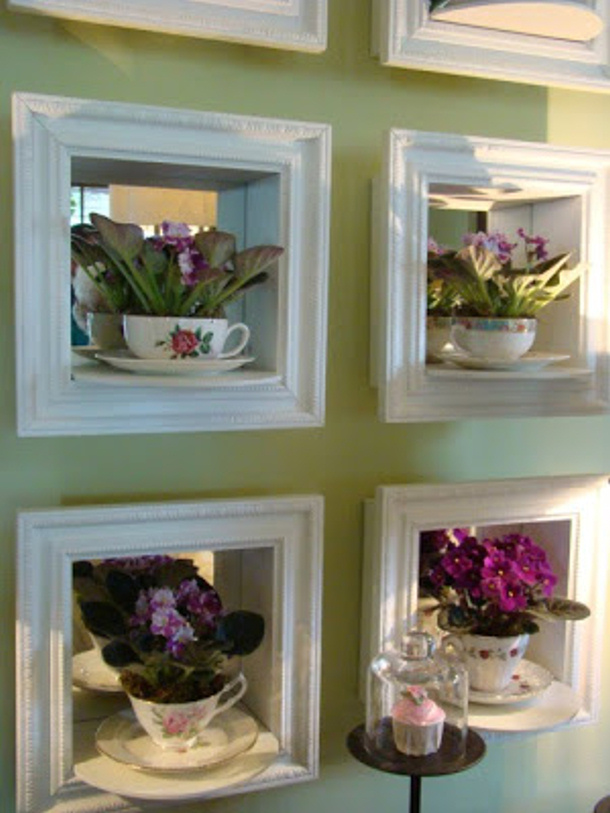 teacups in shadow boxes with mirrors by itsy bits and pieces