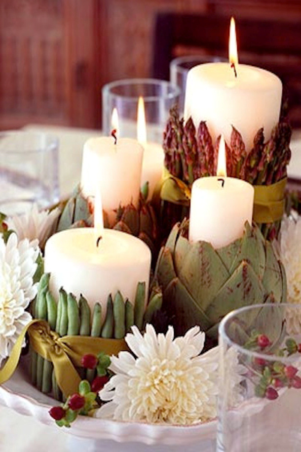 Artichoke-and-Bean-Candles- via intimate weddings