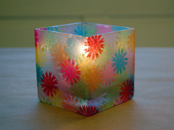 Mod Podge and Tissue Paper Votives via makenzine