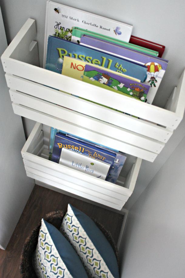 PlayroomCrateBookShelf15 via i heart organizing